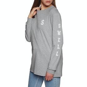 SWELL Basic Womens Long Sleeve T-Shirt - Grey Marl