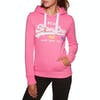 Superdry Vintage Logo Pop Entry Dames Pullover Hoody - Fluro Pink Snowy