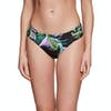 Seafolly Ruched Side Retro Bikini Bottoms - Black Green Purple