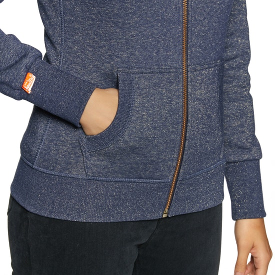 Superdry Orange Label Sparkle Borg Dames Hoody met Rits