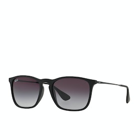 Ray-Ban Chris Sunglasses - Rubber Black ~ Light Grey Gradient Dark Grey
