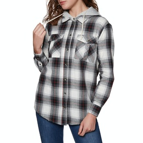 SWELL Hooded Womens Shirt - Black Check