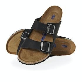 Sandali Birkenstock Arizona Oiled Leather Soft Footbed - Black