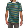 Welcome Surf Stripe Embroidered Knit Short Sleeve T-Shirt - Black/white