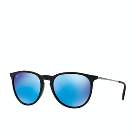 Ray-Ban Erika Sunglasses - Black ~ Light Green Mirror Blue