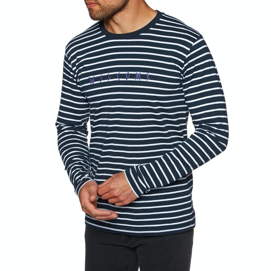 Welcome Scrawl Yarn-Dyed Knit Long Sleeve T-Shirt