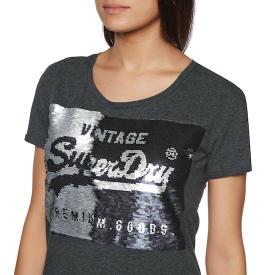 Superdry Premium Sequin Slim Boyfriend Dames T-Shirt Korte Mouwen