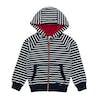 Joules Hemsby Jungen Kapuzenpullover mit Reißverschluss - Navy Stripe