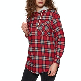 SWELL Hooded Womens Shirt - Red Check
