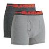 Superdry Sport Double Pack Boxershorts - Crbnblkfderstrp/slvrgryfdrstrp