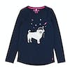Joules Bessie Graphic Print Girls Long Sleeve T-Shirt - French Navy Pug