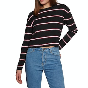 SWELL Swell Cropped Long Sleeve T-Shirt - Black Stripe