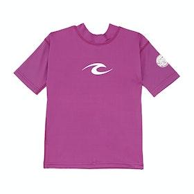 Rip Curl Corpo Short Sleeve Boys Rash Vest - Purple