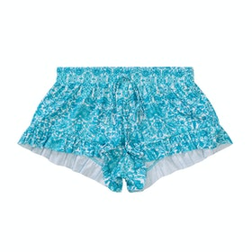 Seafolly Ocean Tapestry Frill Boardie Girls Boardshorts - Emerald Blue