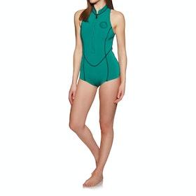 Billabong Salty Dayz 1mm Front Zip Sleeveless Shorty Wetsuit - Palm Green