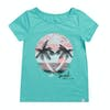 Animal Sunset Sea Girls Short Sleeve T-Shirt - Turquoise Green Marl