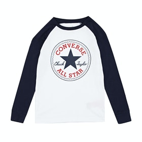 Converse Chuck Patch Raglan Kids Long Sleeve T-Shirt - White
