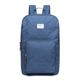 Sandqvist Kim Backpack - Dusty Blue With Cognac Brown Leather