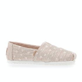 Scarpe Slip On Bambini Toms Classic Alpargata - Rose Gold Heartsy Twill Glimmer Embroidery