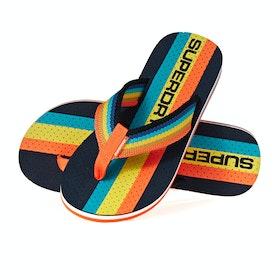 Superdry Trophy Flip Flop Sandals - Dark Navy Fluro Orange Bright Blue