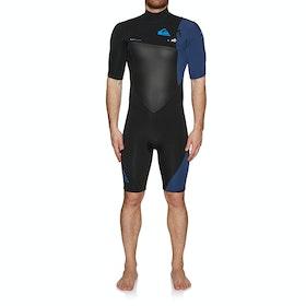 Quiksilver 2/2mm Highline Plus Short Sleeve Chest Zip Wetsuit - Black Iodine Blue