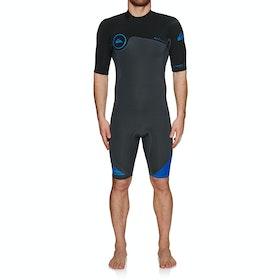 Quiksilver 2/2mm Syncro Series SS Back Zip FLT Springsuit Wetsuit - Graphite Black Deep Cyanine