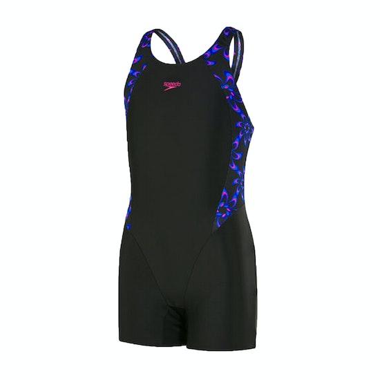 Speedo Geoglow Panel Legsuit Girls Swimsuit