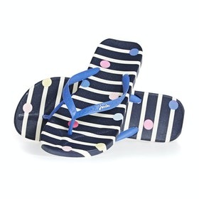 Joules Flip Flops Womens Sandals - Navy Stripe