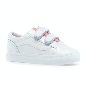 Vans Old Skool Kids Toddler Shoes - White Giraffe True White Strawberry Pink
