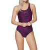 Speedo Boom Allover Muscleback Womens Swimsuit - Black / Electric Pink / Lava Red