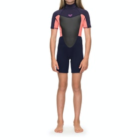 Roxy 2/2mm Prologue Back-Zip Shorty Girls Wetsuit - Blue Ribbon Coral Flame