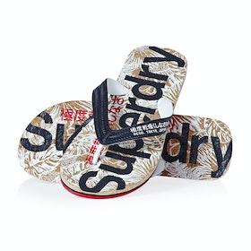Sandales Superdry Printed Cork Flip Flop - Salute Navy Red Cork