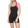 Speedo Boom Splice Legsuit Womens Swimsuit - Black / Electric Pink