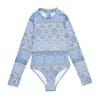 Seafolly Pop Palace Long Sleeve Girls Swimsuit - Blue Grey Multi