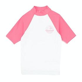 Rash Vest Girls Billabong Arty Short Sleeve - White