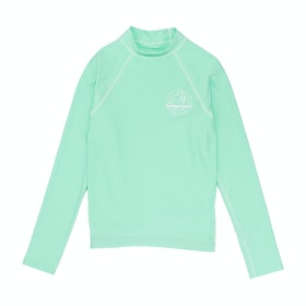 Rash Vest Girls Billabong Logo Long Sleeve - Beach Glass