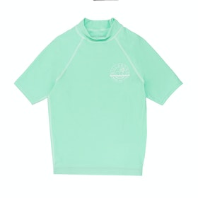 Billabong Logo Short Sleeve Girls Rash Vest - Beach Glass
