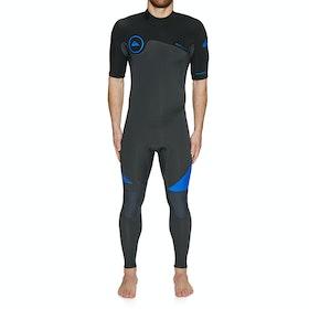 Muta Subacquea Quiksilver 2/2mm Syncro Back Zip Short Sleeve - Graphite Black Deep Cyanine