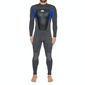 Quiksilver 4/3mm Prologue Back Zip Wetsuit - Jet Black Nite Blue