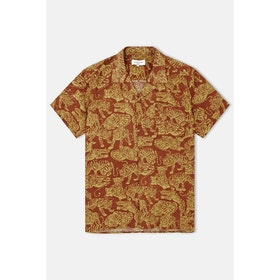 YMC Tiger Malick S S Shirt - Brown