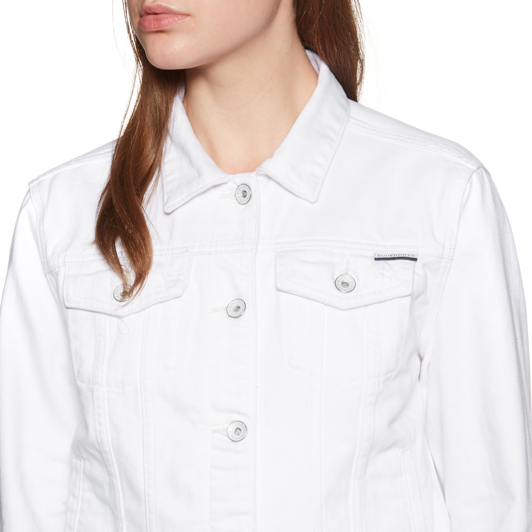 Superdry Denim Girlfriend Womens Jacket Pure White All Sizes