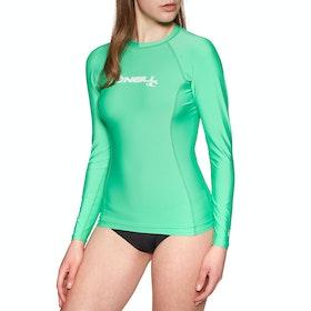 O'Neill Skins Basic Long Sleeve Crew Womens Rash Vest - Seaglass