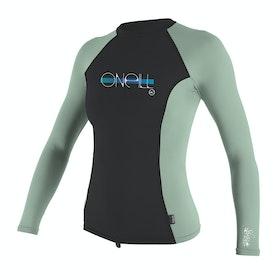 O'Neill Premium Skins Long Sleeve Girls Rash Vest - Nite Oil Fresh Mint