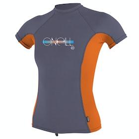 O'Neill Premium Skins Short Sleeve Girls Rash Vest - Dusk Papaya