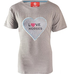Horka Caliber Flippable Sequins Childrens Short Sleeve T-Shirt - Grey Melange