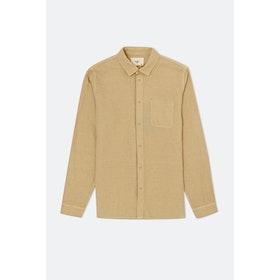 Folk Stitch Pocket L S Shirt - Sandstone
