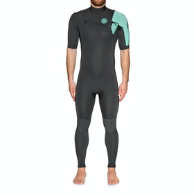 Rip Curl Aggro 2mm Chest Zip Short Sleeve Wetsuit - Teal