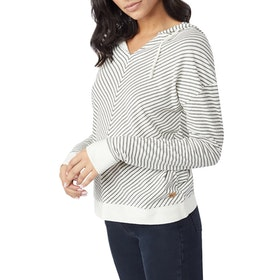 Tentree Piney Ladies Pullover Hoody - White Grey Stripe