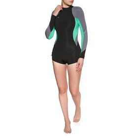 O'Neill Bahia 2/1mm Long Sleeve Back Zip Shorty Wetsuit - Black Seaglass Dusk