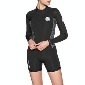 Rip Curl Dawn Patrol 2mm Long Sleeve Shorty Womens Wetsuit - Black White